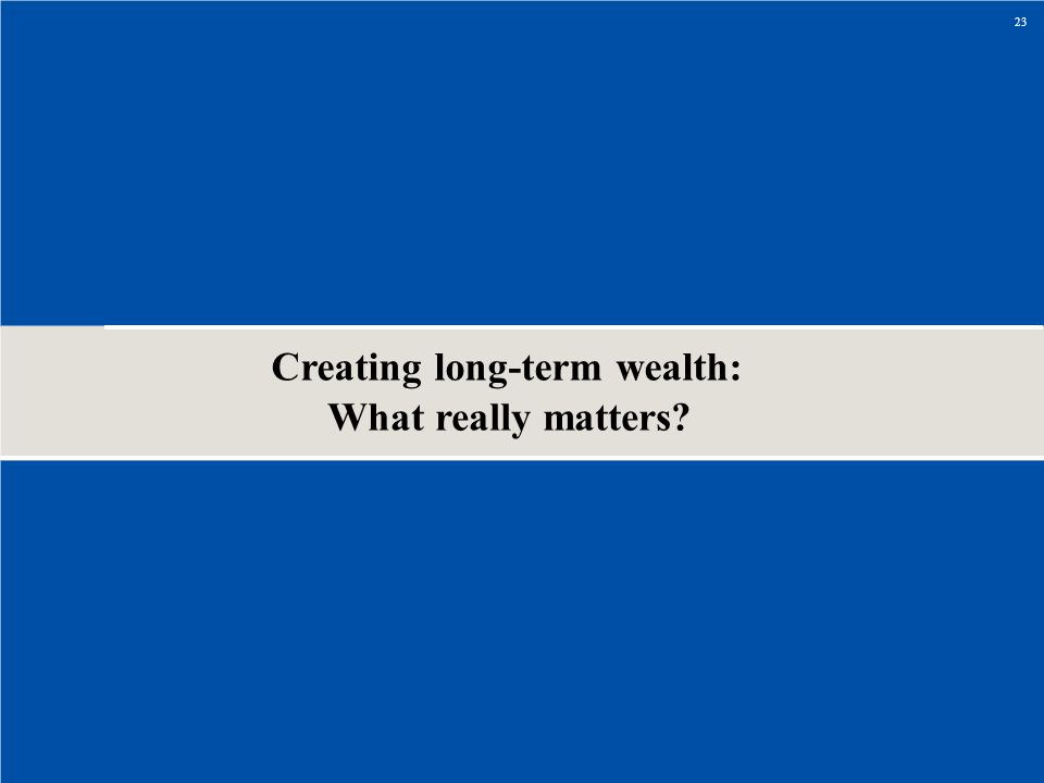 Creating long-term wealth: What really matters? 23