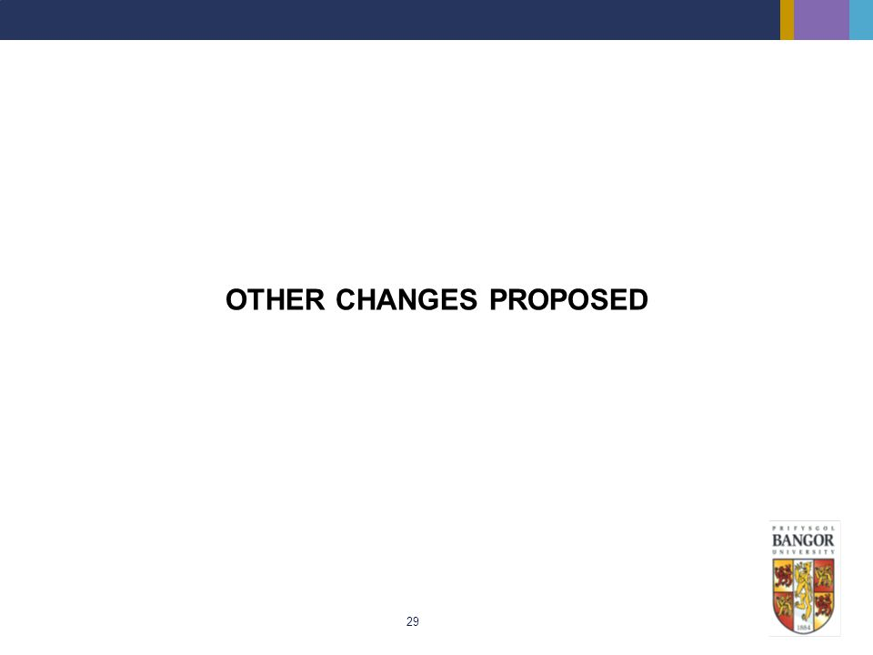 29 OTHER CHANGES PROPOSED
