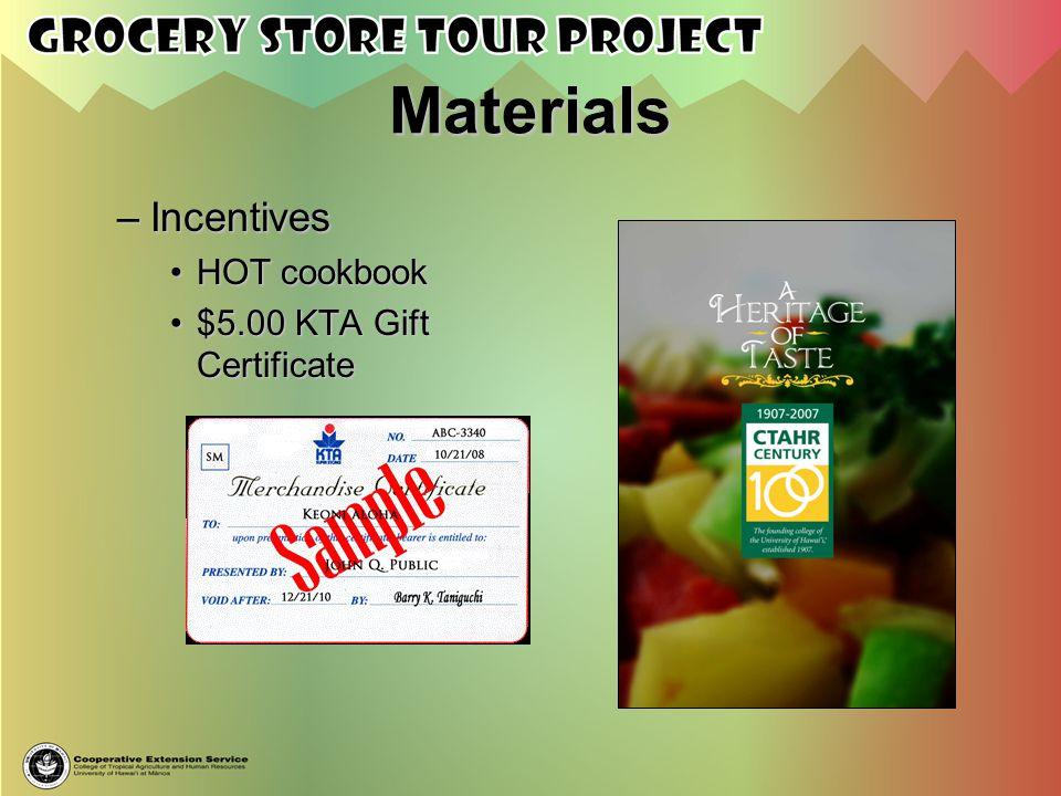 Materials –I–I–I–Incentives HOT cookbook $5.00 KTA Gift Certificate