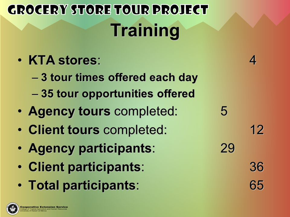 Training KTA stores:4KTA stores:4 –3 tour times offered each day –35 tour opportunities offered Agency tours completed:5Agency tours completed:5 Clien