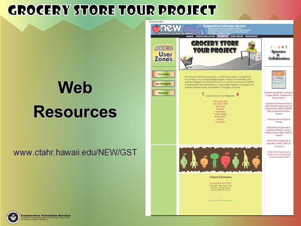 Web Resources www.ctahr.hawaii.edu/NEW/GST