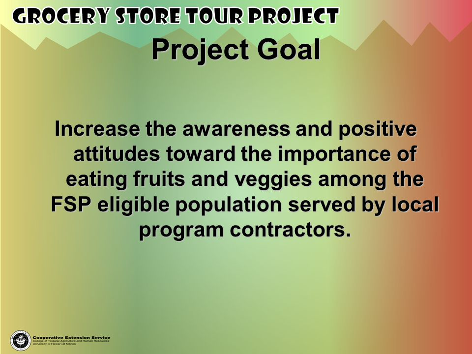 Project Goal Increase the awareness and positive attitudes toward the importance of eating fruits and veggies among the FSP eligible population served
