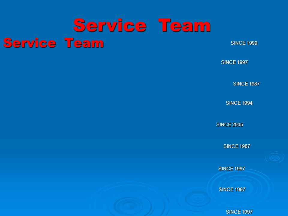 Service Team SINCE 1999 SINCE 1997 SINCE 1987 SINCE 1994 SINCE 2005 SINCE 1987 SINCE 1997 SINCE 1987