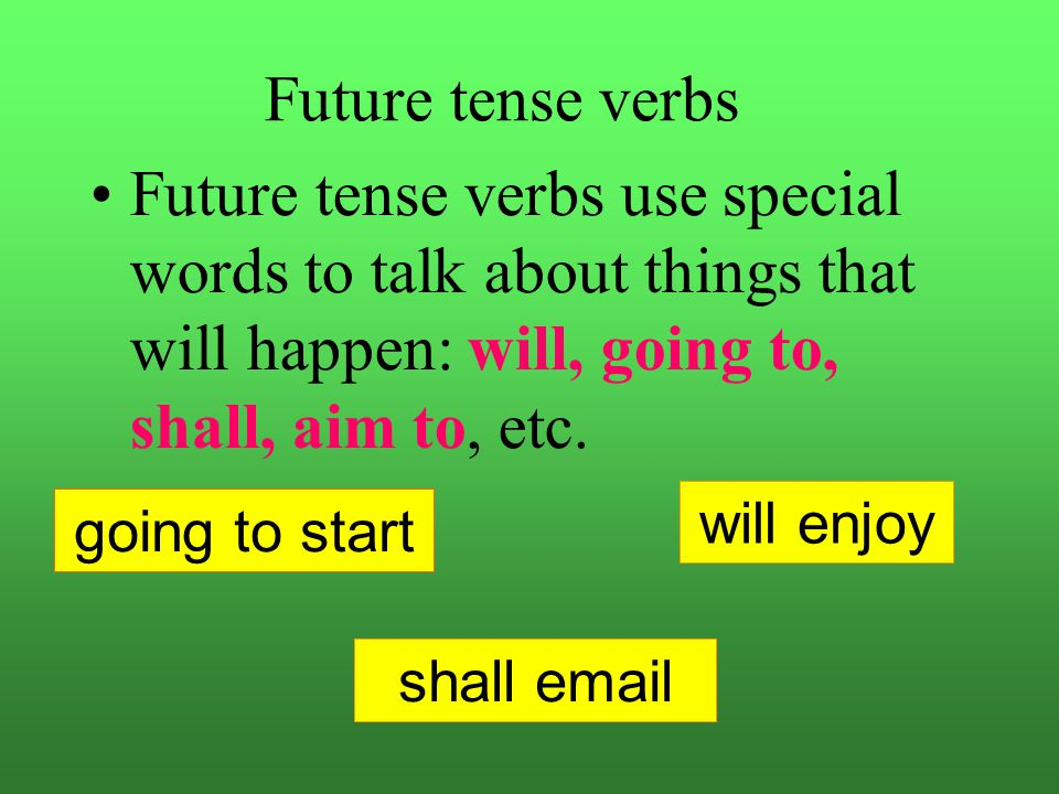 Future Verbs Verbs which tell about actions which are going to happen are future tense verbs. We will awaken at six a.m. Will awaken Will awaken is a