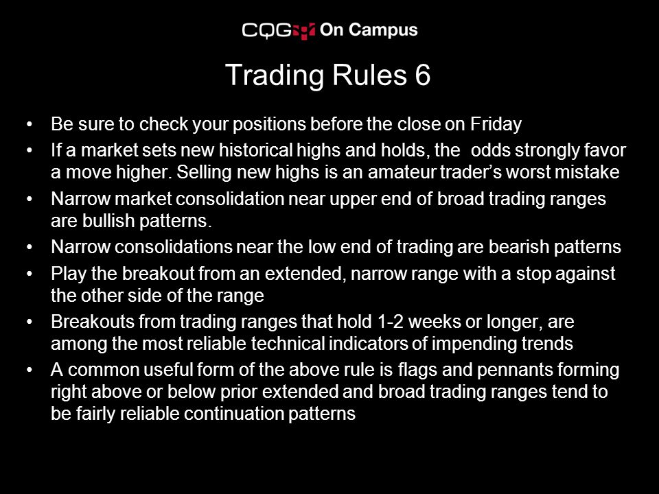 Trading Rules 6 Be sure to check your positions before the close on Friday If a market sets new historical highs and holds, the odds strongly favor a