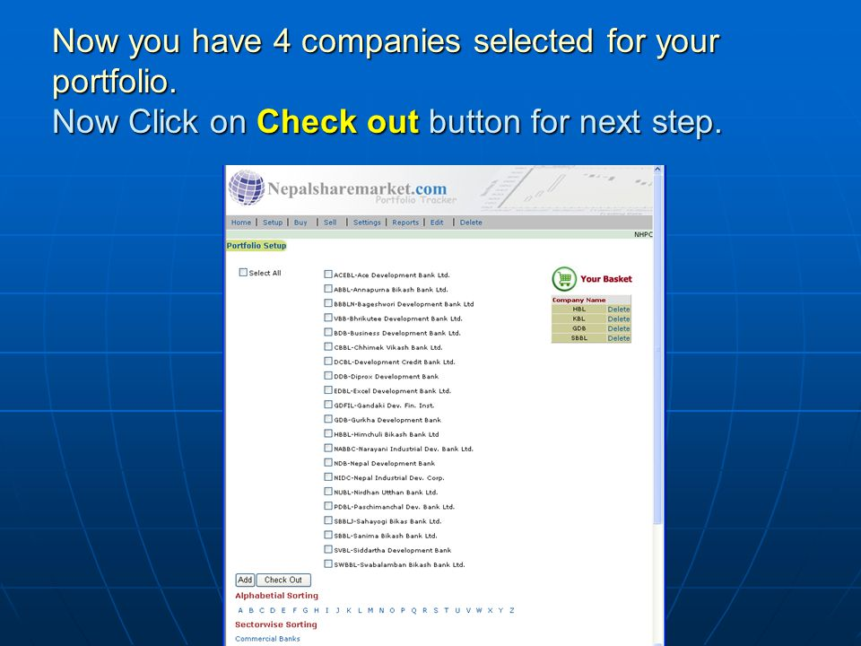 Now you have 4 companies selected for your portfolio. Now Click on Check out button for next step.
