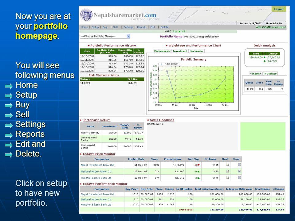 Type your new portfolio name e.g. myportfolio1 Click on submit button.