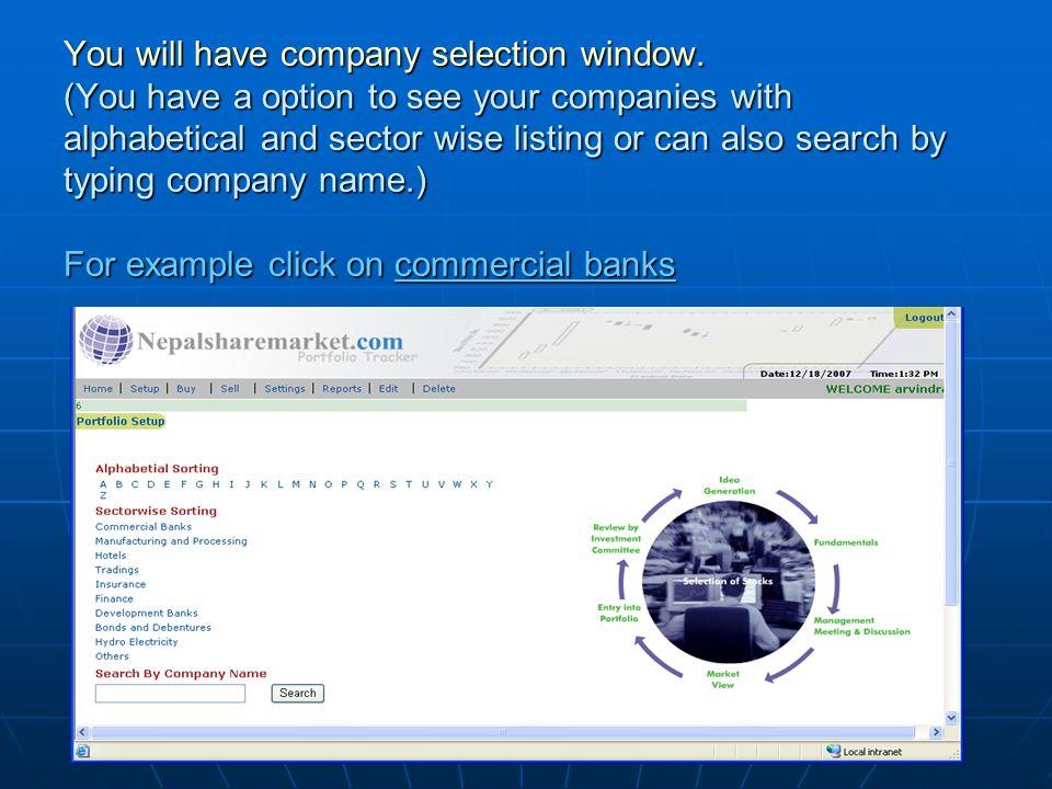 Now select the companies as below.For example I am selecting Kumari Bank and Himalayan Bank.