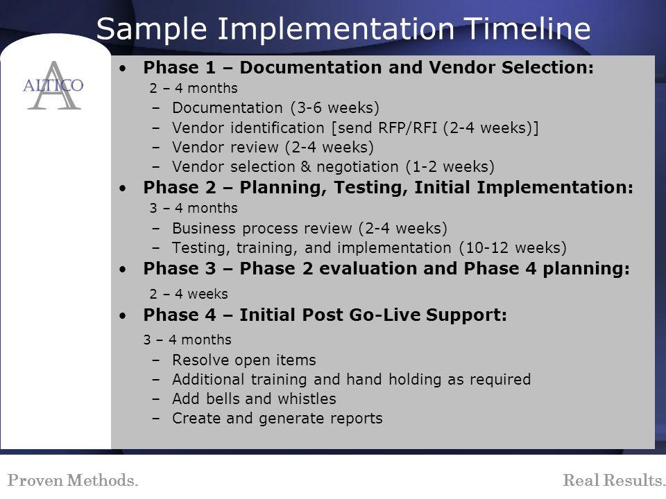 Proven Methods. Real Results. Sample Implementation Timeline Phase 1 – Documentation and Vendor Selection: 2 – 4 months –Documentation (3-6 weeks) –Ve