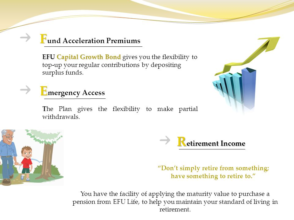 R etirement Income You have the facility of applying the maturity value to purchase a pension from EFU Life, to help you maintain your standard of liv
