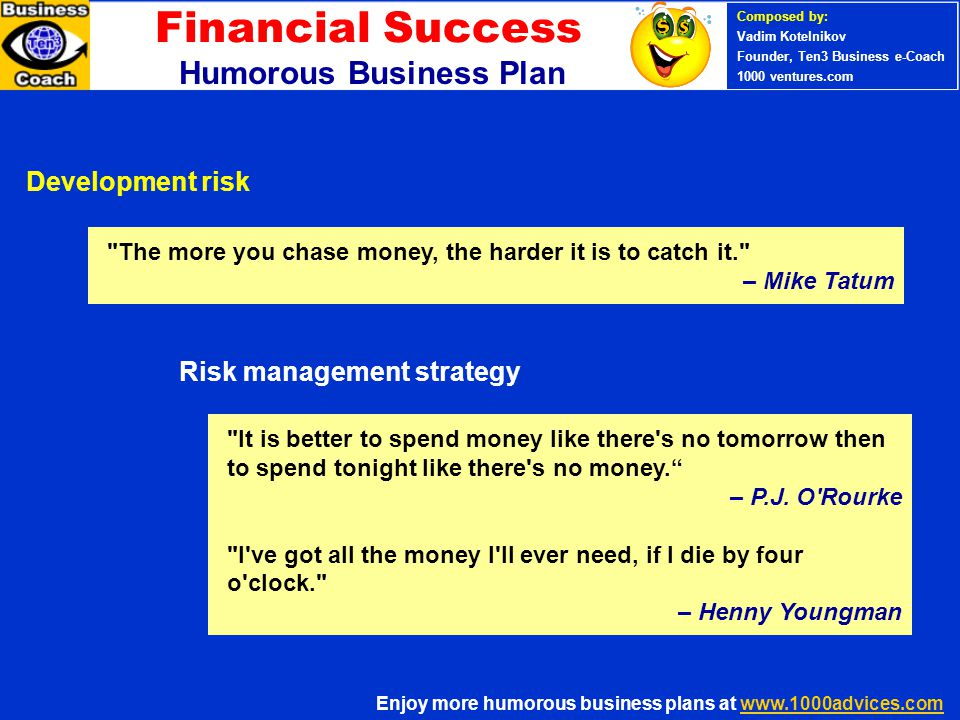 Financial Success Humorous Business Plan