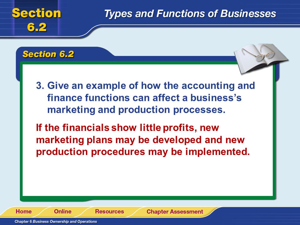3.Give an example of how the accounting and finance functions can affect a businesss marketing and production processes. If the financials show little