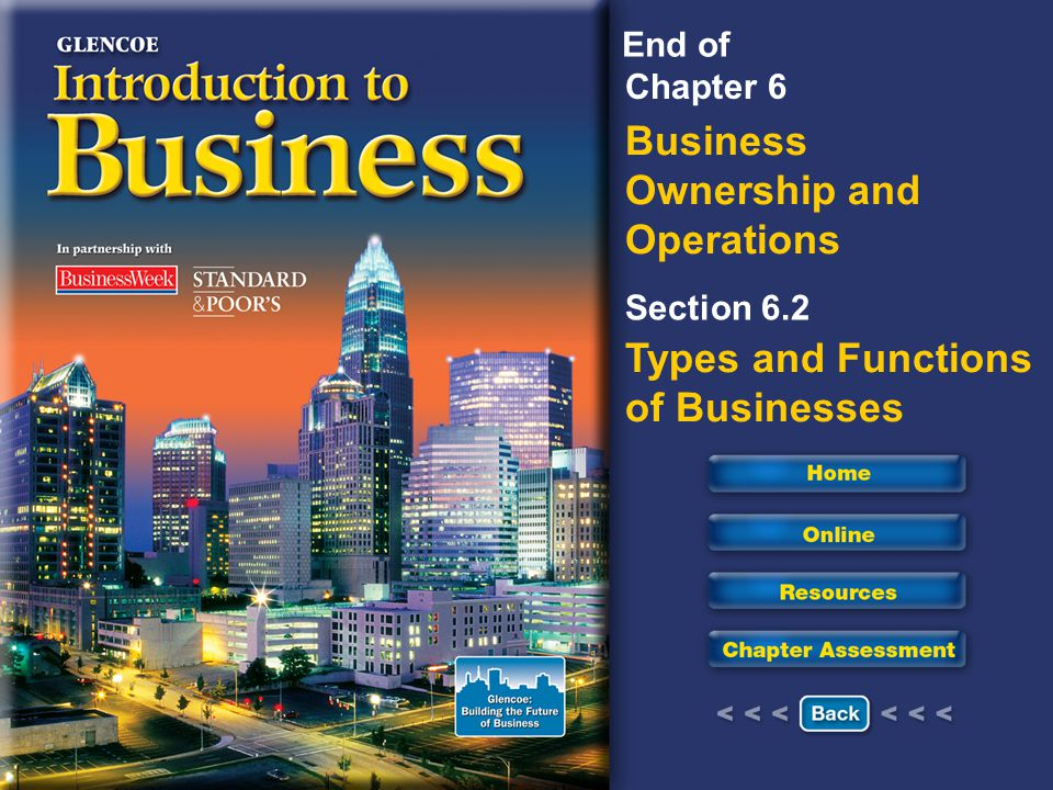 Chapter 6 Business Ownership and Operations Section 6.2 Types and Functions of Businesses End of