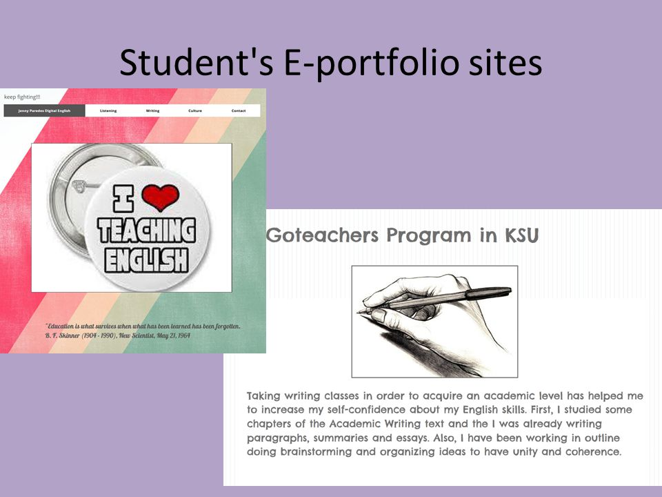 Student s E-portfolio sites Two stud