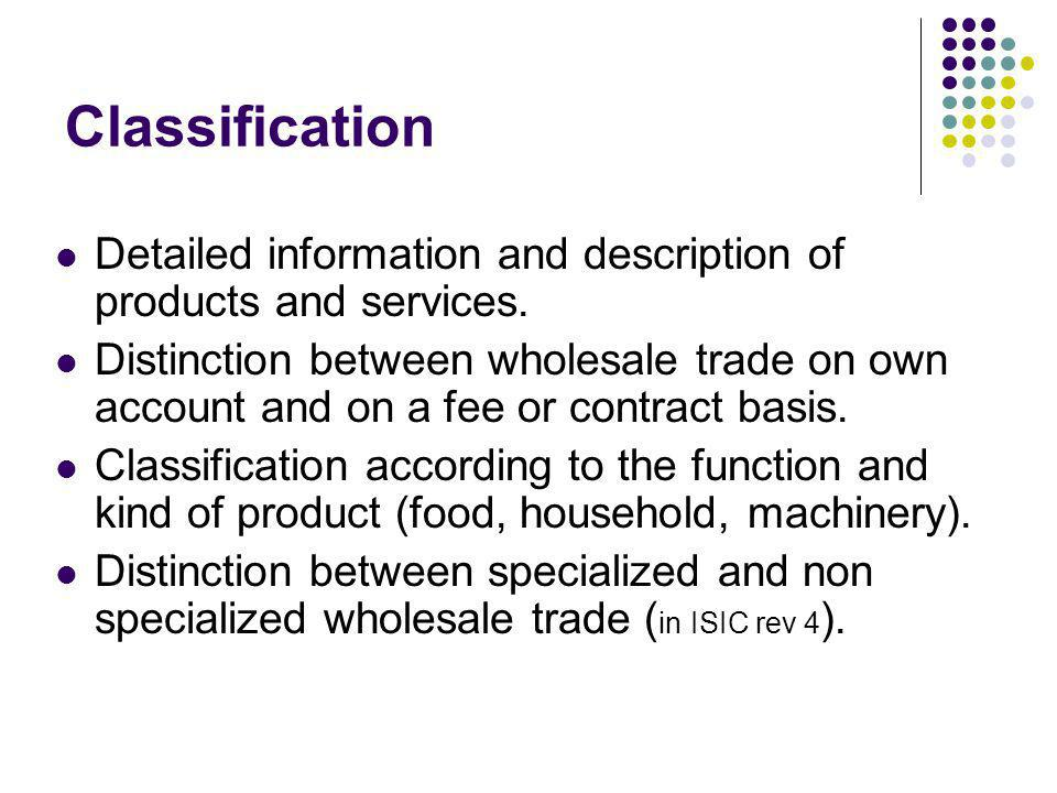 Classification Detailed information and description of products and services. Distinction between wholesale trade on own account and on a fee or contr