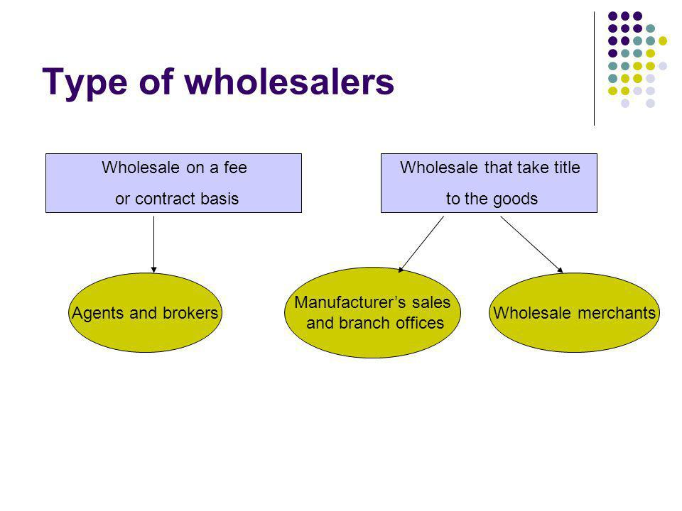 Type of wholesalers Agents and brokersWholesale merchants Wholesale on a fee or contract basis Wholesale that take title to the goods Manufacturers sa
