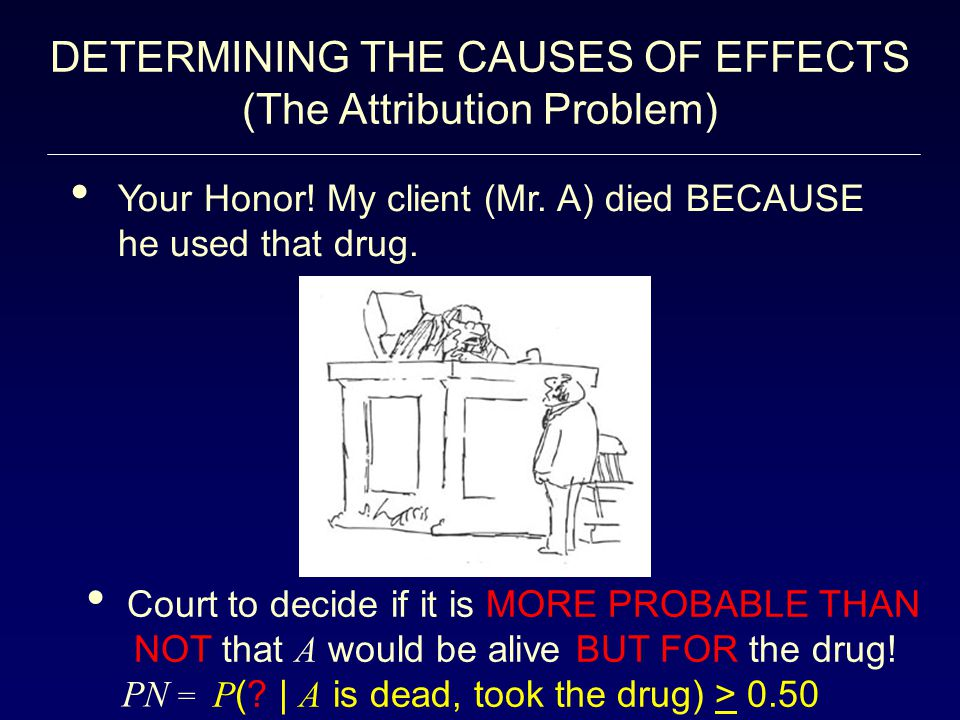 DETERMINING THE CAUSES OF EFFECTS (The Attribution Problem) Your Honor! My client (Mr. A) died BECAUSE he used that drug. Court to decide if it is MOR