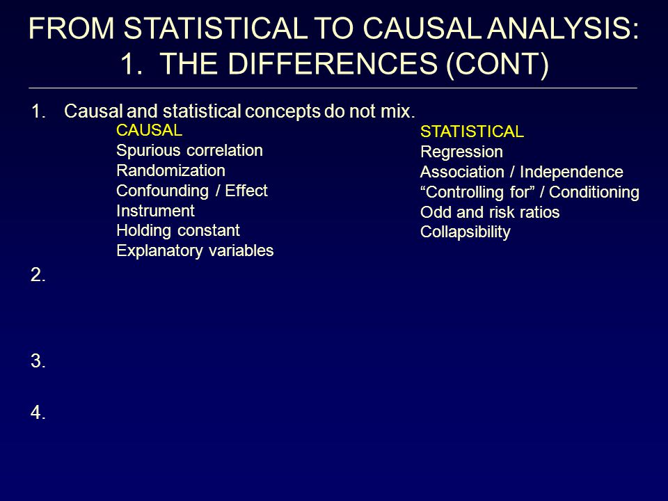 FROM STATISTICAL TO CAUSAL ANALYSIS: 1. THE DIFFERENCES (CONT) CAUSAL Spurious correlation Randomization Confounding / Effect Instrument Holding const