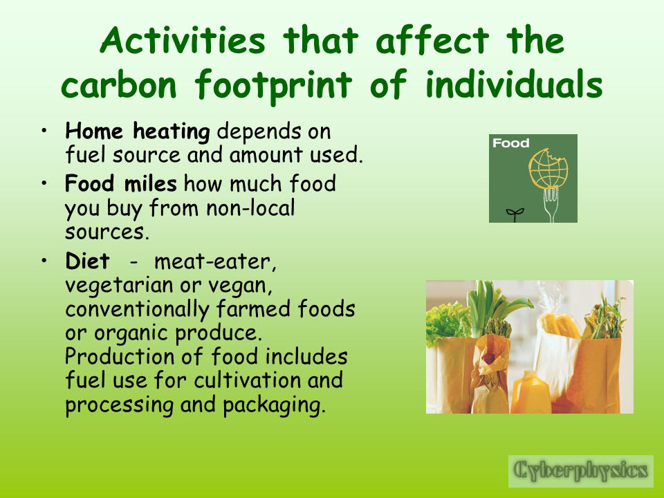 Activities that affect the carbon footprint of individuals Home heating depends on fuel source and amount used.