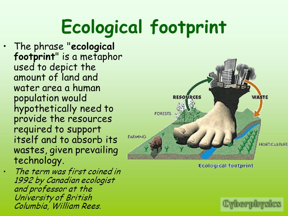 Ecological footprint The phrase ecological footprint is a metaphor used to depict the amount of land and water area a human population would hypothetically need to provide the resources required to support itself and to absorb its wastes, given prevailing technology.