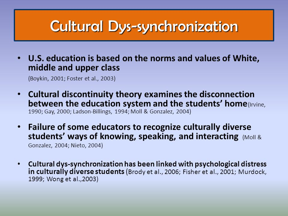 U.S. education is based on the norms and values of White, middle and upper class (Boykin, 2001; Foster et al., 2003) Cultural discontinuity theory exa