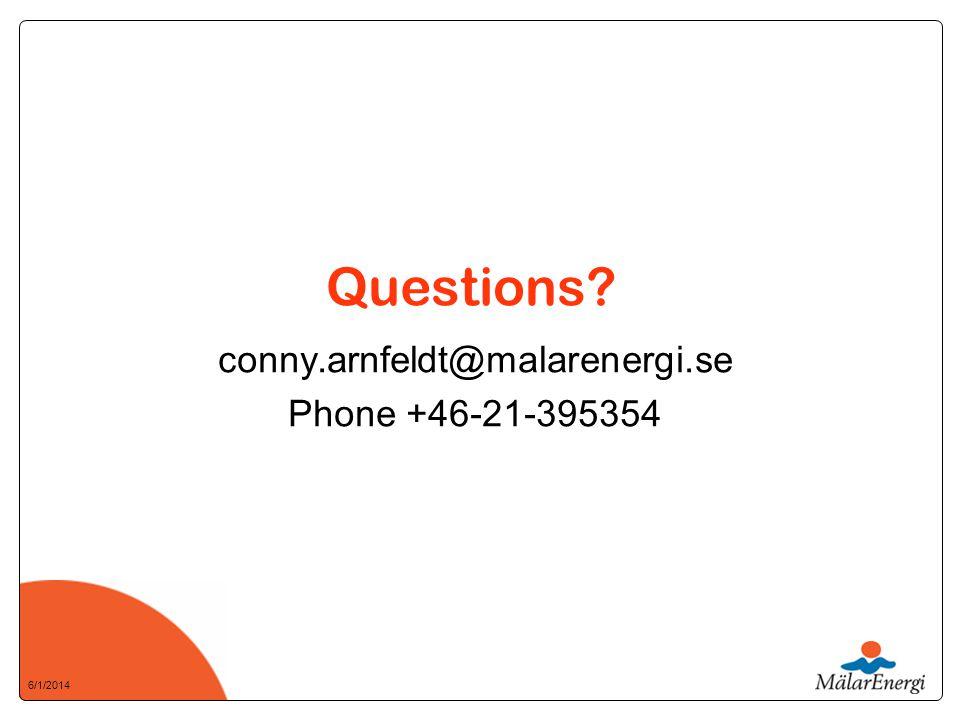 6/1/2014 Questions conny.arnfeldt@malarenergi.se Phone +46-21-395354