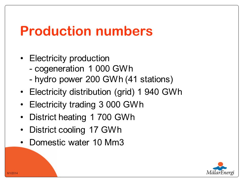 6/1/2014 Production numbers Electricity production - cogeneration 1 000 GWh - hydro power 200 GWh (41 stations) Electricity distribution (grid) 1 940 GWh Electricity trading 3 000 GWh District heating 1 700 GWh District cooling 17 GWh Domestic water 10 Mm3