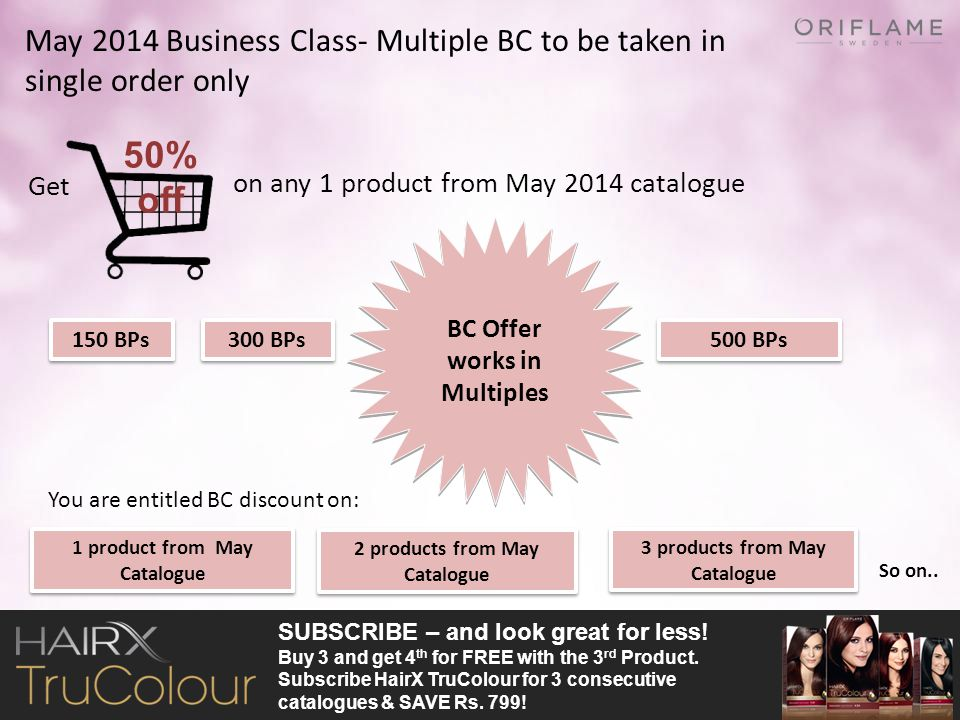 May 2014 Business Class- Multiple BC to be taken in single order only Get on any 1 product from May 2014 catalogue 2 products from May Catalogue 500 B