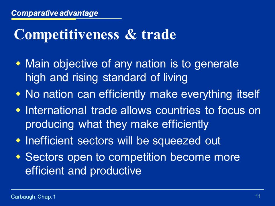 Carbaugh, Chap. 1 11 Competitiveness & trade Main objective of any nation is to generate high and rising standard of living No nation can efficiently