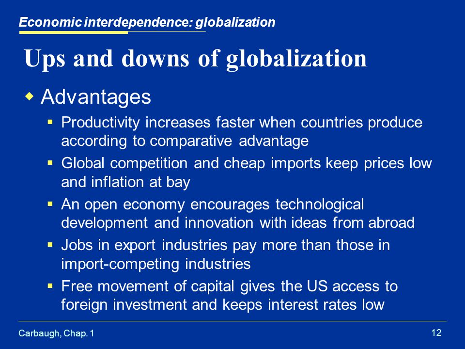 Carbaugh, Chap. 1 12 Ups and downs of globalization Advantages Productivity increases faster when countries produce according to comparative advantage