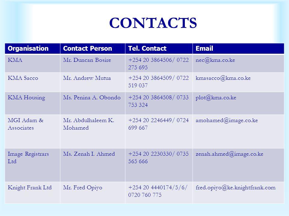 OrganisationContact PersonTel. ContactEmail KMAMr. Duncan Bosire+254 20 3864506/ 0722 275 695 nec@kma.co.ke KMA SaccoMr. Andrew Mutua+254 20 3864509/