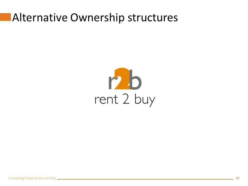27 Unlocking Property Ownership Pre and Post Purchase Education Two programmes: Pre-purchasePost purchase and after transfer of ownership
