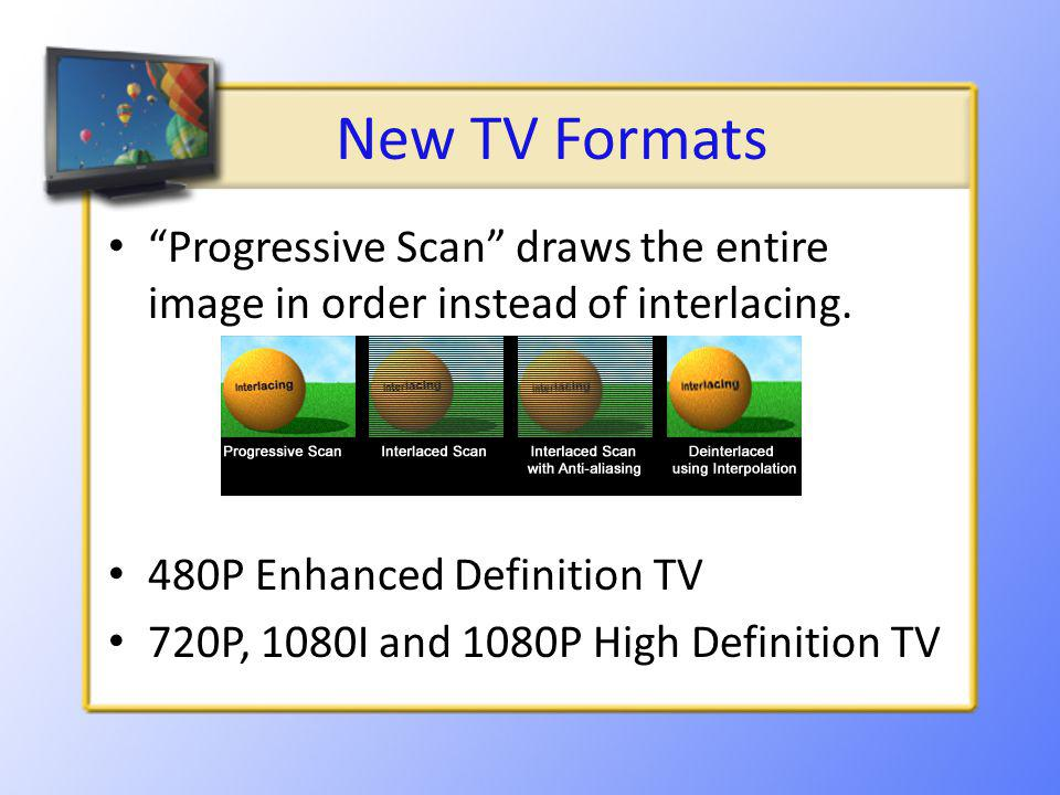 New TV Formats Progressive Scan draws the entire image in order instead of interlacing.
