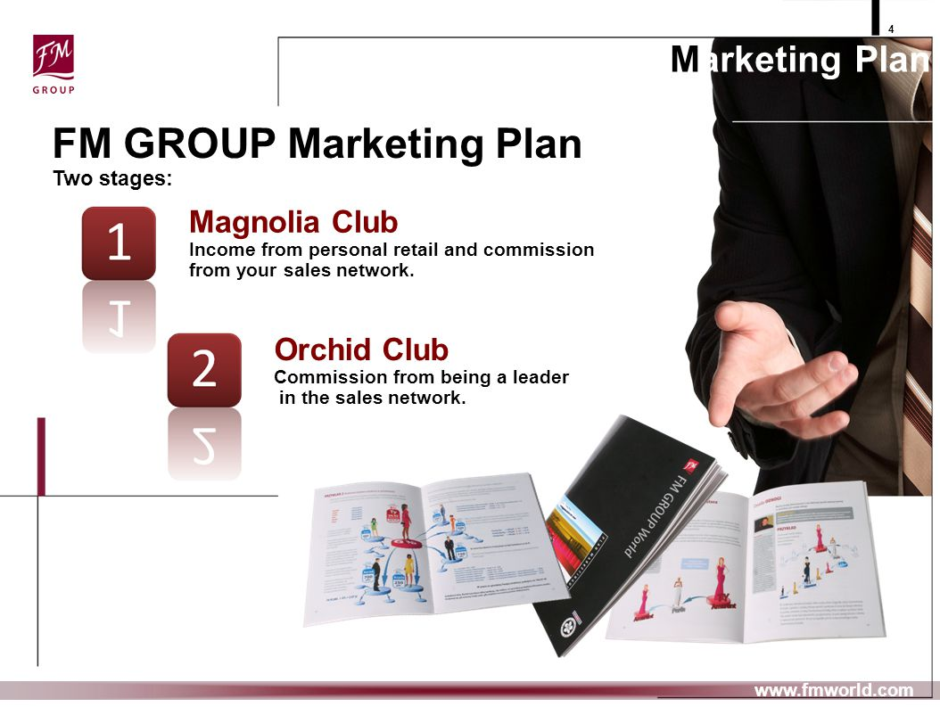 4 www.fmworld.com Magnolia Club Income from personal retail and commission from your sales network. Orchid Club Commission from being a leader in the