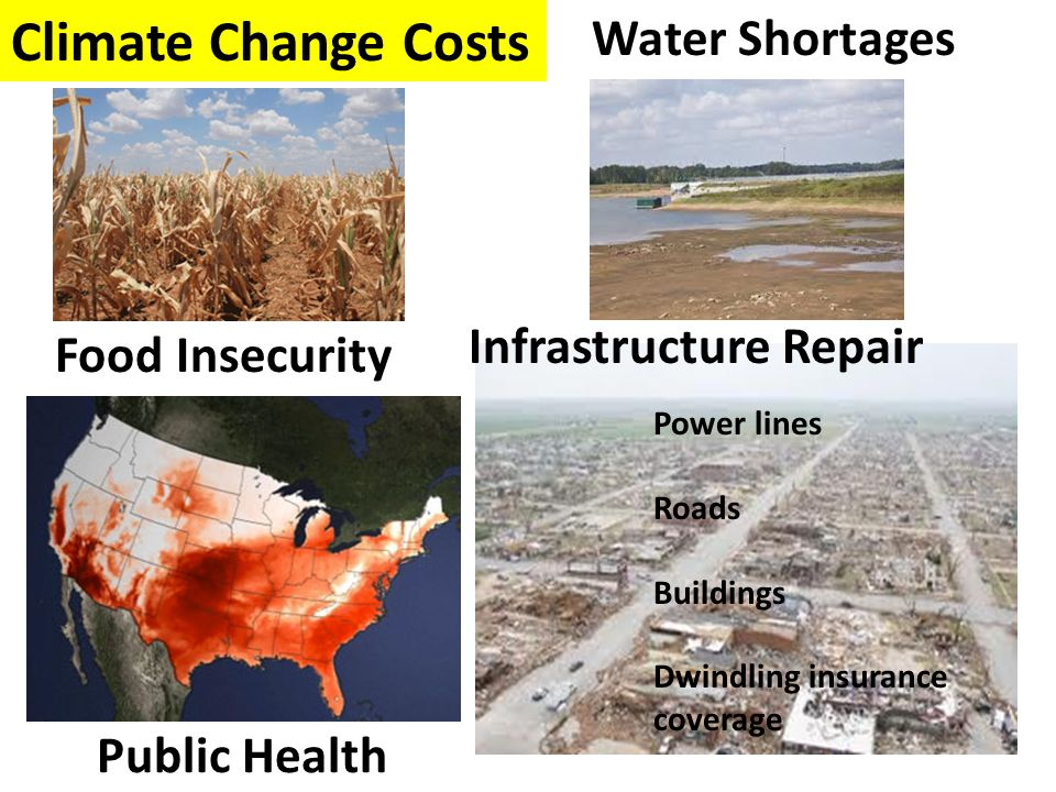 Food Insecurity Water Shortages Public Health Power lines Roads Buildings Dwindling insurance coverage Infrastructure Repair Climate Change Costs