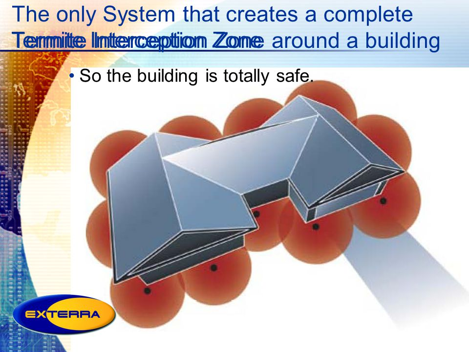 The only System that creates a complete Termite Interception Zone around a building So the building is totally safe. Termite Interception Zone