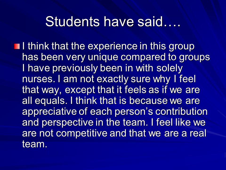 Students have said….