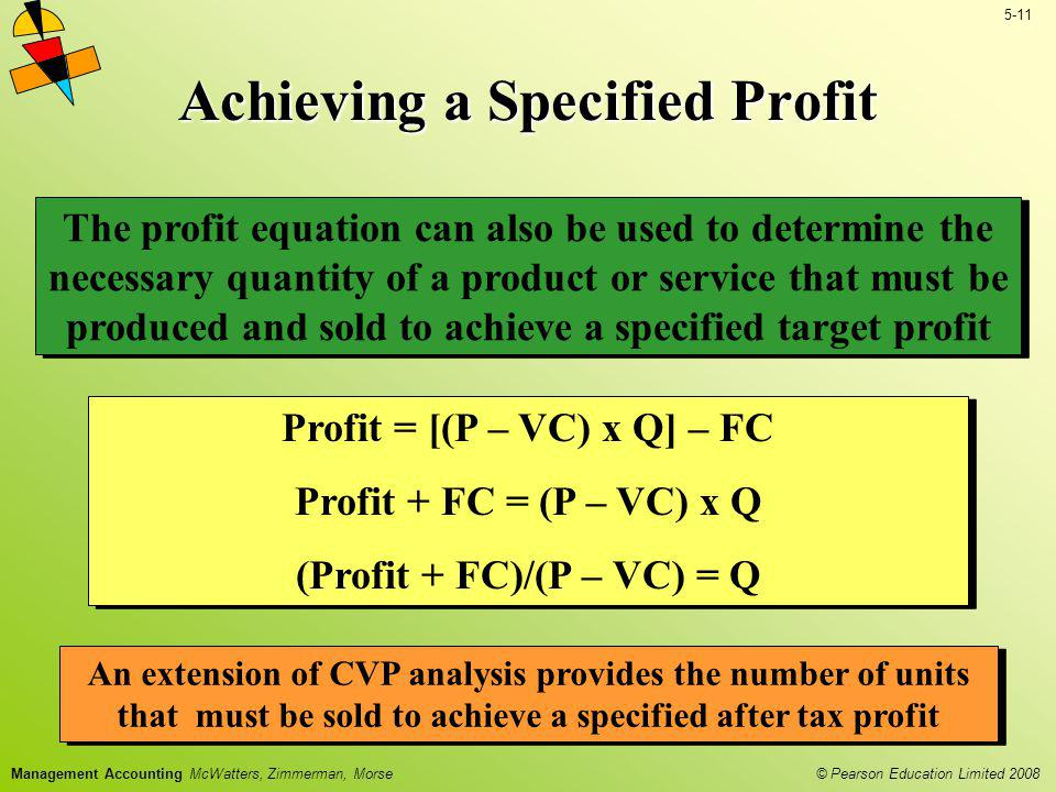 © Pearson Education Limited 2008 5-11 Management Accounting McWatters, Zimmerman, Morse Achieving a Specified Profit The profit equation can also be u