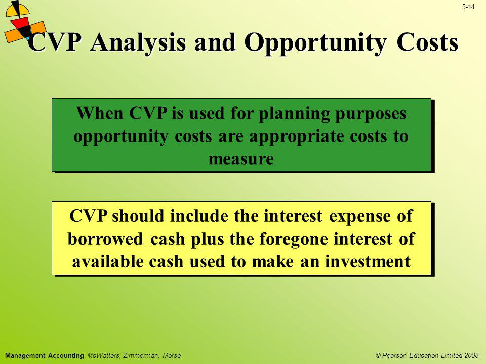 © Pearson Education Limited 2008 5-14 Management Accounting McWatters, Zimmerman, Morse CVP Analysis and Opportunity Costs CVP should include the inte