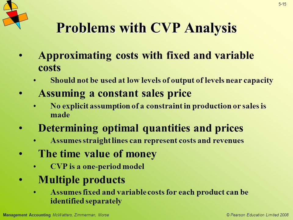 © Pearson Education Limited 2008 5-15 Management Accounting McWatters, Zimmerman, Morse Problems with CVP Analysis Approximating costs with fixed and