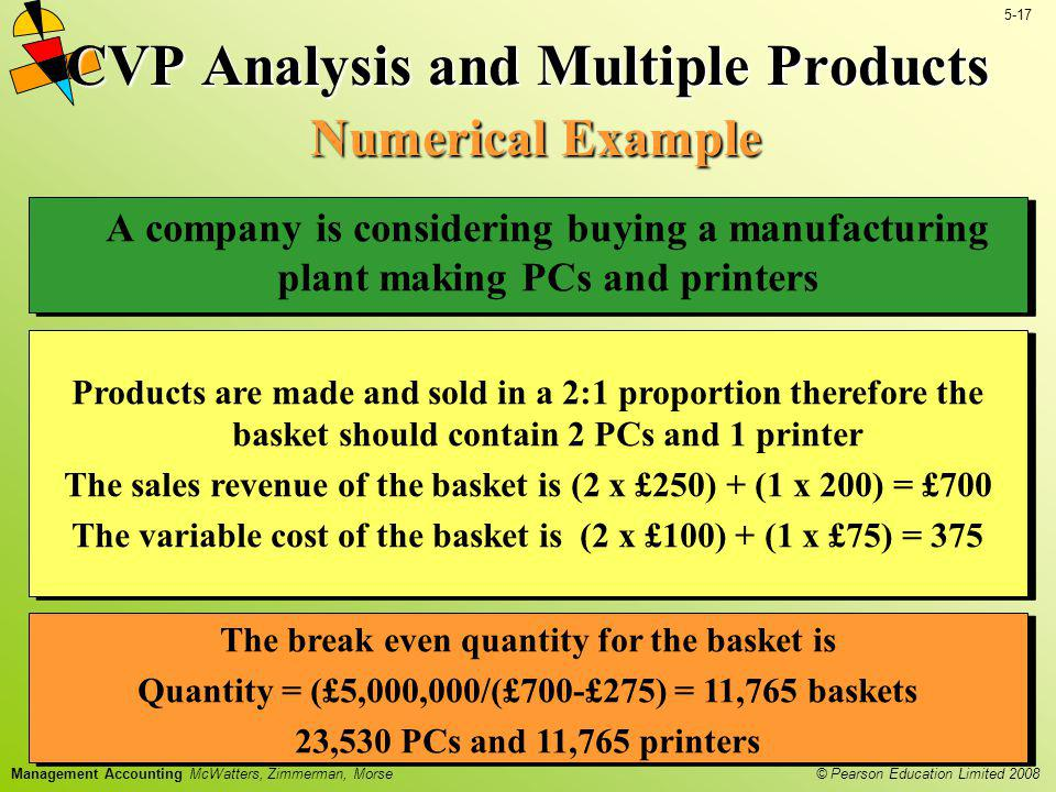 © Pearson Education Limited 2008 5-17 Management Accounting McWatters, Zimmerman, Morse A company is considering buying a manufacturing plant making P