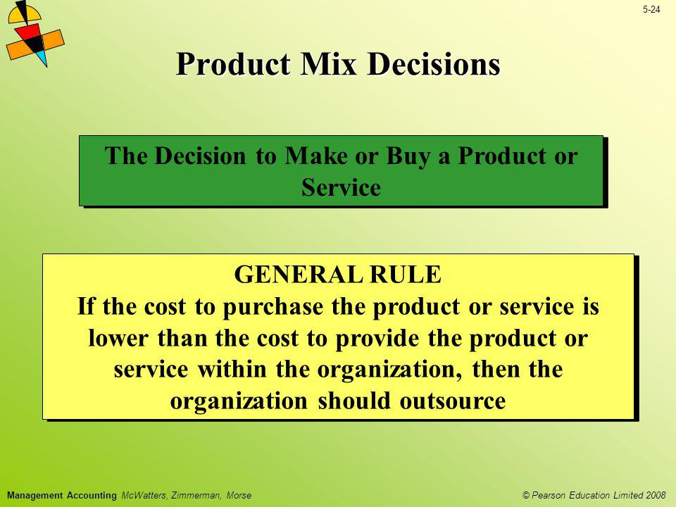 © Pearson Education Limited 2008 5-24 Management Accounting McWatters, Zimmerman, Morse Product Mix Decisions The Decision to Make or Buy a Product or