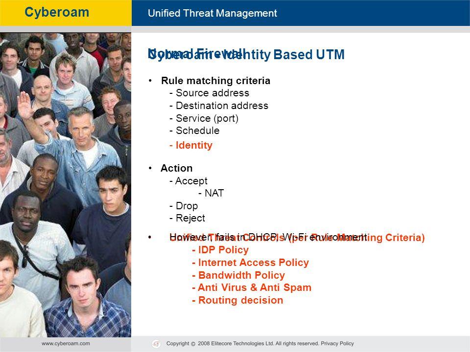Cyberoam - Unified Threat Management Unified Threat Management Cyberoam Normal Firewall Rule matching criteria - Source address - Destination address