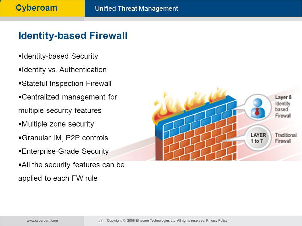 Cyberoam - Unified Threat Management Unified Threat Management Cyberoam Identity-based Security Identity vs. Authentication Stateful Inspection Firewa
