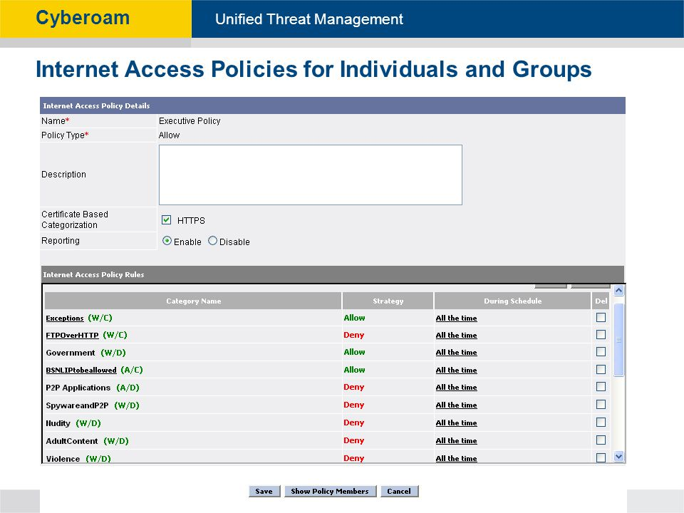 Cyberoam - Unified Threat Management Unified Threat Management Cyberoam Internet Access Policies for Individuals and Groups