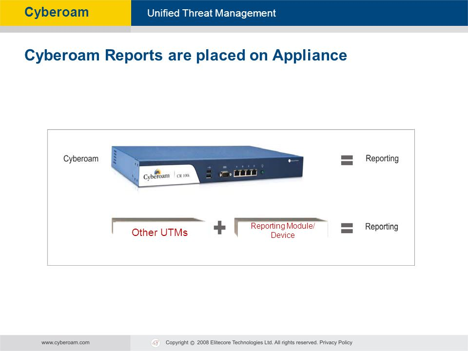 Cyberoam - Unified Threat Management Unified Threat Management Cyberoam Cyberoam Reports are placed on Appliance Other UTMs Reporting Module/ Device