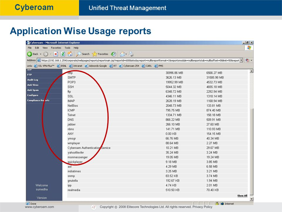 Cyberoam - Unified Threat Management Unified Threat Management Cyberoam Application Wise Usage reports