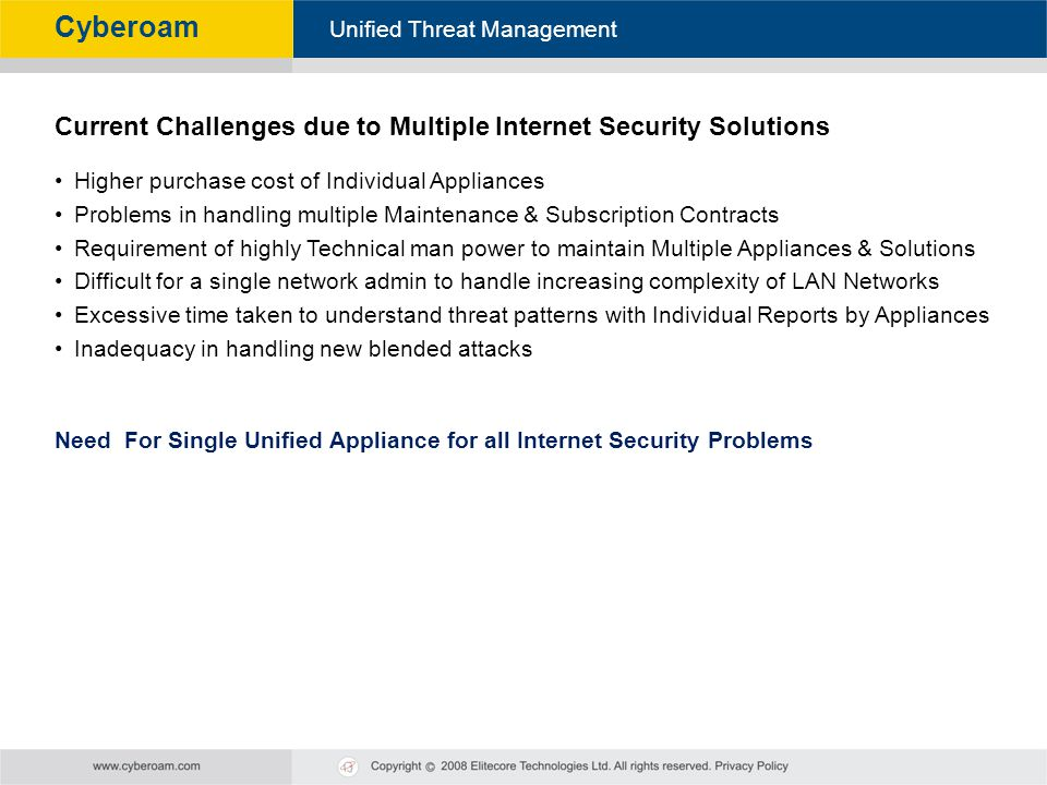 Cyberoam - Unified Threat Management Unified Threat Management Cyberoam Current Challenges due to Multiple Internet Security Solutions Higher purchase