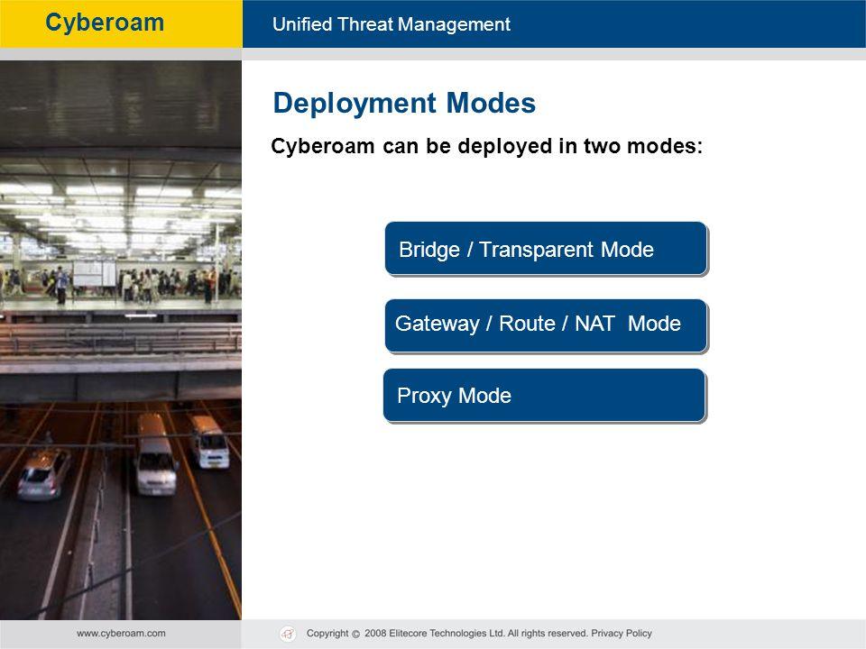 Cyberoam - Unified Threat Management Unified Threat Management Cyberoam Cyberoam can be deployed in two modes: Deployment Modes Bridge / Transparent M