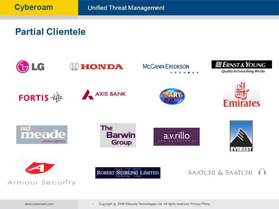 Cyberoam - Unified Threat Management Unified Threat Management Cyberoam Partial Clientele